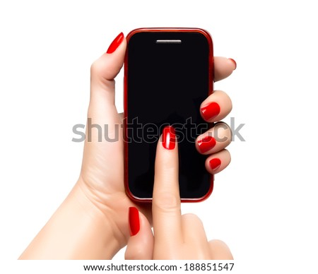 Elegant female hands with red nails holding a smart phone and pointing the touchscreen. Closeup isolated on white