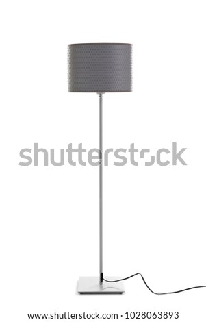 Elegant floor lamp on white background