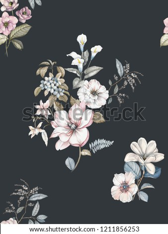 Elegant flowers, elegant posture,Black background,Pink flower