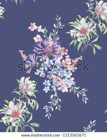 Elegant flowers, elegant posture,Blue background,