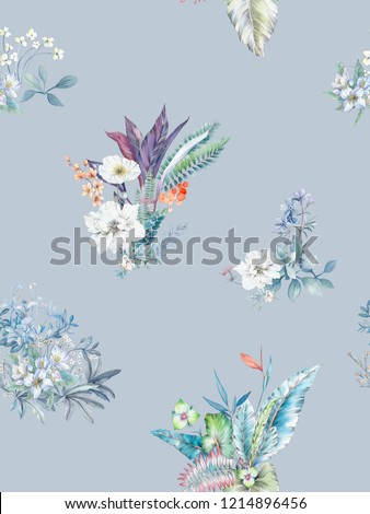 Elegant flowers, elegant posture,Blue background