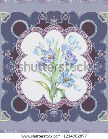 Elegant flowers, elegant posture,Blue background,