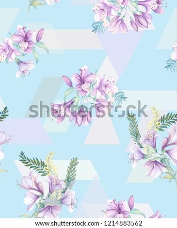 Elegant flowers, elegant posture,Blue background,geometric pattern,