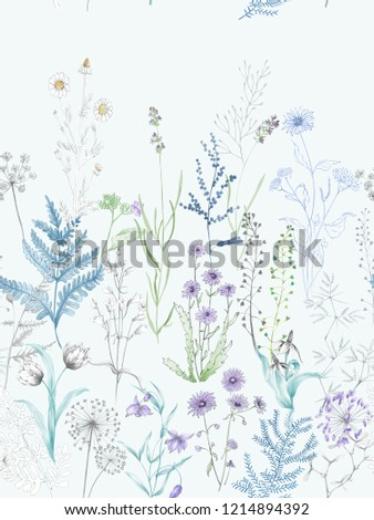 Elegant flowers, elegant posture,Blue background,watercolor