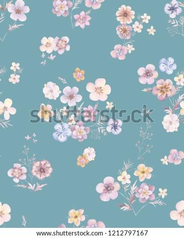 Elegant flowers, elegant posture,Blue background,Young floret element