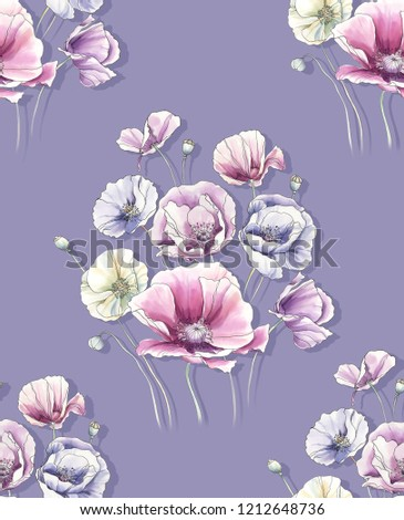 Elegant flowers, elegant posture,Purple background