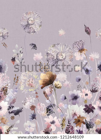 Elegant flowers, elegant posture,Purple background,watercolor