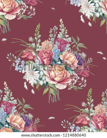 Elegant flowers, elegant posture,Red background,