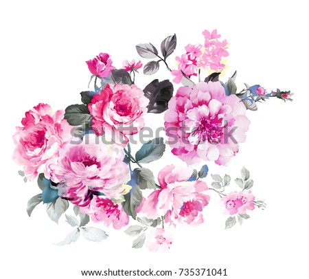 Elegant flowers, the leaves and flowers art design