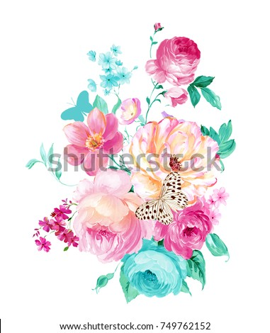 Elegant flowers, the leaves and flowers art design - Shutterstock ID 749762152
