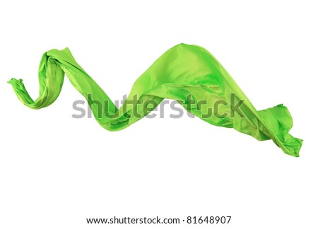 Elegant flowing green satin isolated on white background
