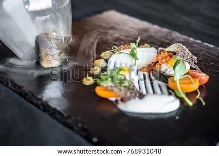 elegant food modern cuisine #768931048
