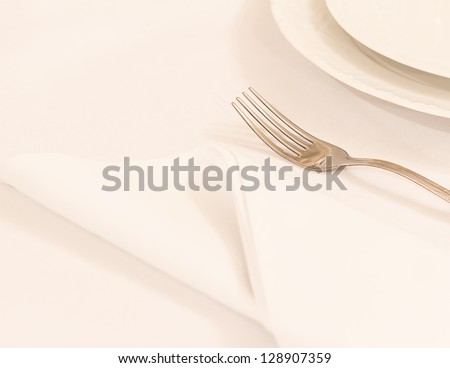 Elegant fork and a napkin on a solid background