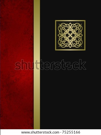 elegant formal black, red, and gold background or cover with classic black layer that has copy space with gold trim accent on grunge red textured layout design