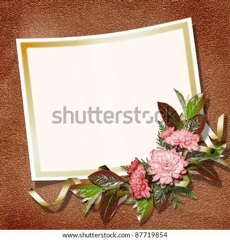Elegant framework for invitation or congratulation on the vintage background.