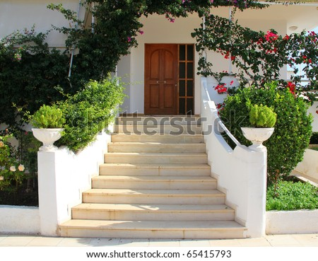 Elegant Front Door of Home. Greece