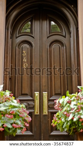 Elegant Front Doors http://www.shutterstock.com/pic-35674837/stock-photo-elegant-front-door-to-an-american-house.html