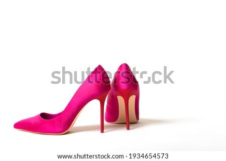 Elegant fuchsia high heel shoe on white background Zdjęcia stock ©