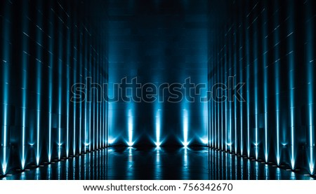 Elegant futuristic blue light and reflection with grid line background. 3D rendering.