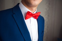 Elegant gentleman clother. shirt and red bow tie