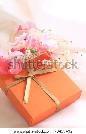 Elegant gift box and flower for holiday present image