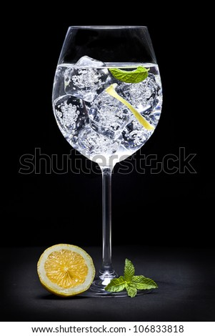 Elegant gin tonic glass on black background
