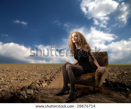 elegant girl lost in the country