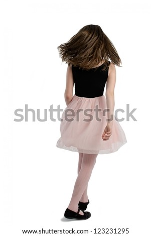 Elegant girl with long hairs walking, back view