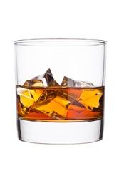 Elegant glass of whiskey with ice cubes isolated on white background