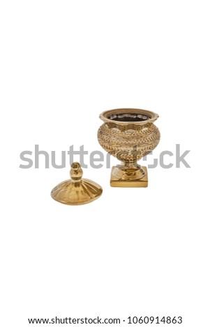 Elegant glass vase isolated on a white background (glass, empty, vase) #1060914863