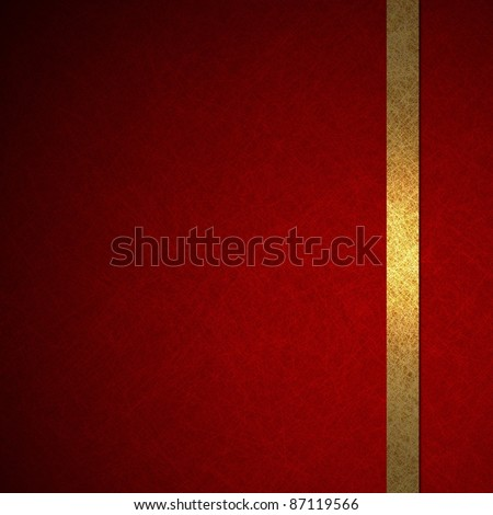 elegant gold and red background or wallpaper with ribbon layout design, for Christmas, copy space for your ad or brochure, dark vignette shading on side border, has vintage grunge texture