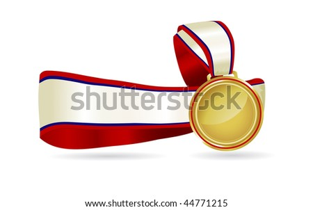 Elegant gold medal on a red and blue ribbon with space for type. Great for olympic celebrations, sports days or to promote a special event.