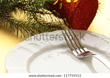 elegant gold place setting for Christmas