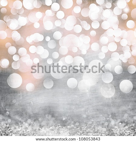 Elegant Grunge Silver, Gold, Pink Christmas Light Bokeh & Vintage Crystal Instagram Background Texture