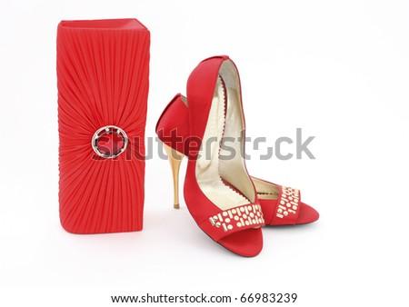 Elegant handbag and shoes for women - stock photo