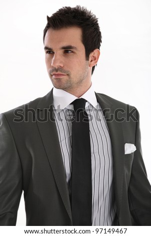 Elegant handsome man on white background