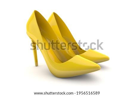 Elegant high heels. Yellow shoes for women. 3d render Zdjęcia stock ©