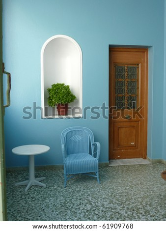elegant house entrance  in Greece - stock photo