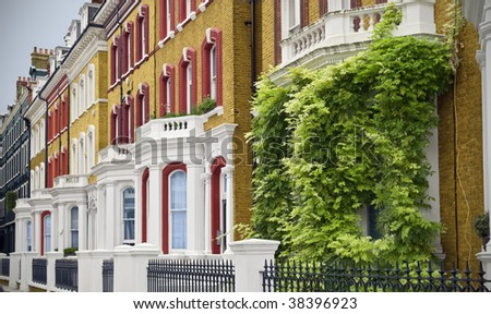 Elegant Houses at London. Typical Apartments Building at West-London.