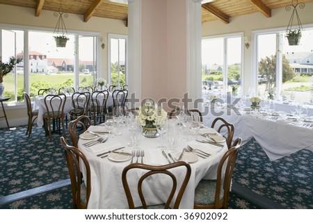 Elegant interior dining room setup for wedding or event
