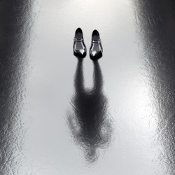 Elegant Invisible unemployed job seeker Woman with black high heels standing on the wet floor. Create your own reality, DIY. Healthy lifestyle Job Office concept. Missing Lost person. Political leader