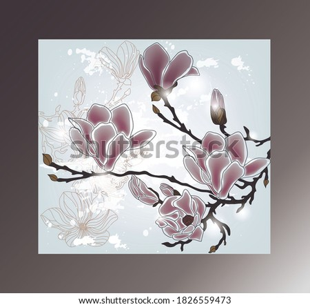 Elegant japanese style floral composition pattern scarf in blue, pink and brown colors Stok fotoğraf ©