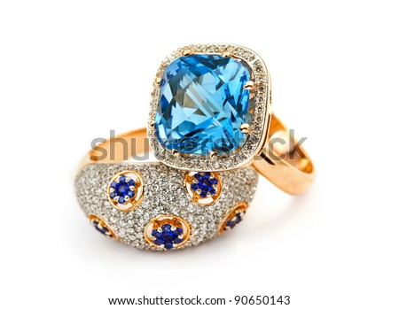 Elegant jewelry ring with jewel stone sapphire