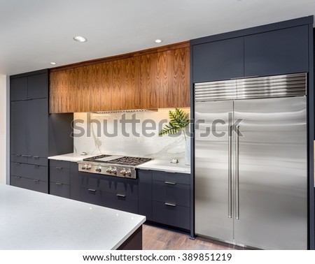 Elegant Kitchen Interior Detail in New Luxury Home :Cabinets wit