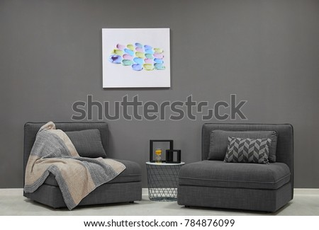 Elegant living room interior with sectional sofa #784876099