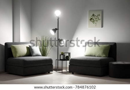 Elegant living room interior with sectional sofa