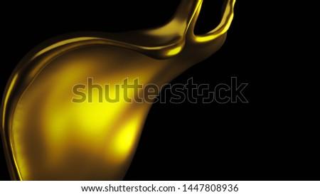 Elegant, luxury splash of gold liquid. 3d illustration, 3d rendering. #1447808936