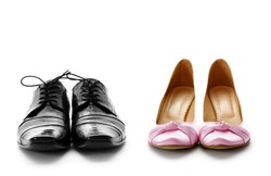 elegant male and female dress shoes for wedding or party