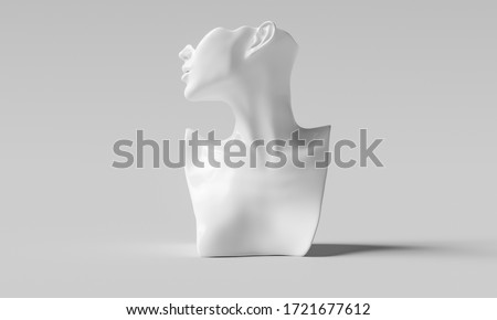 Elegant Mannequin earring Jewelry necklace display stand. Bust female model show decorate kit. Jewelry showcase abstract background. 3d rendering. Foto d'archivio ©