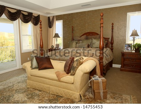 Elegant Master Bedroom In Earth Tones Stock Photo 14755453
